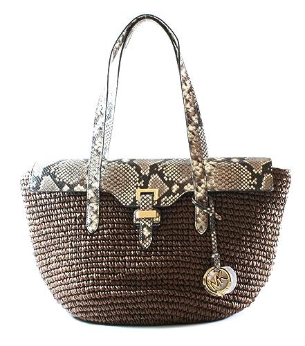 7ba37631b8fea8 Michael Kors Naomi Straw Shoulder Bag Brown: Amazon.co.uk: Shoes & Bags