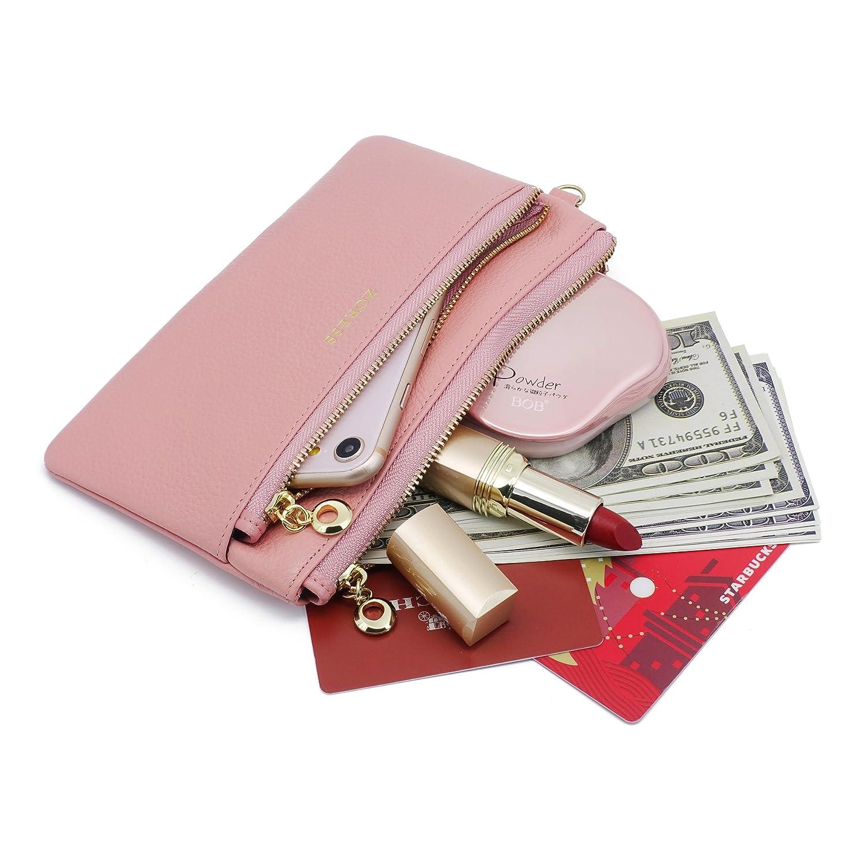 ZW007 ZORESS Women Genuine Leather Wristlets Bag Pink Long Clutch Organizer Wallets Purses for iPhone Clutch Organizer Wallets Purses for iPhone
