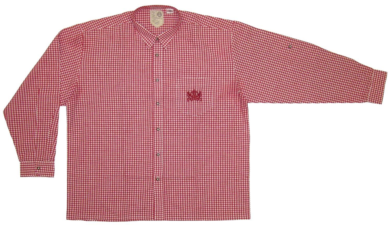 Trachtenhemd Bauernkariertes (45-46, weiß-rot kariert)
