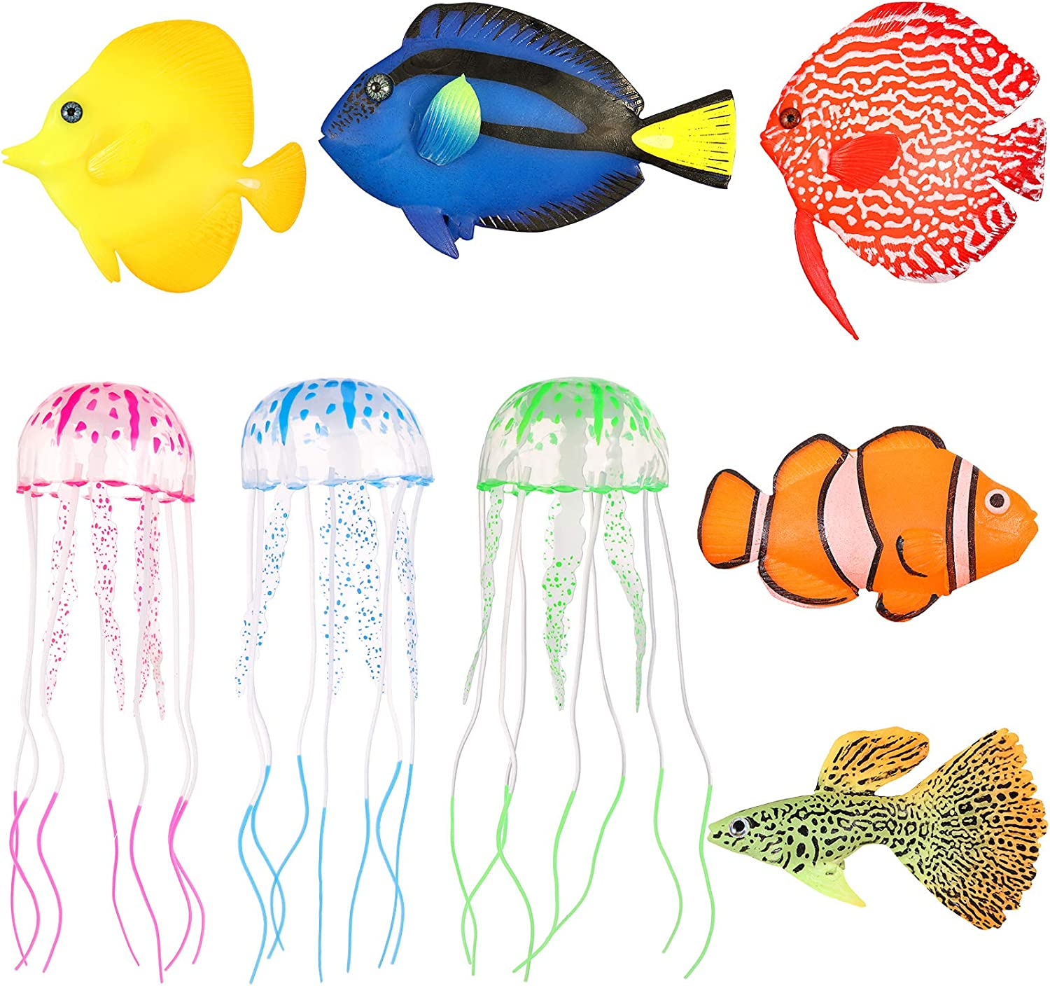 Weewooday 5 Pieces Artificial Glowing Fish and 3 Pieces Glowing Jellyfish Silicone Fake Floating Fish for Aquarium Fish Tank Ornament Decoration