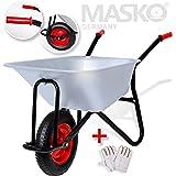 Masko® Schubkarre 100 Liter 250kg ✓ Bau Transportwagen ✓ Garten ✓ Luftrad ✓ Gartenkarre |belastbar bis 250kg Stabile Ausführung | Modell:MSK-101 Eckig