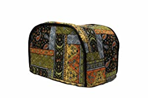"4 Slice Toaster Cover - Long Slot (15.75""x8""x8"") / Quilted Double Faced Cotton, Black Patch"