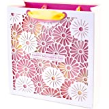 Hallmark Signature Large Mother's Day Gift Bag (Die-cut Flowers, 10.5 by 10.5 by 5 Inches)