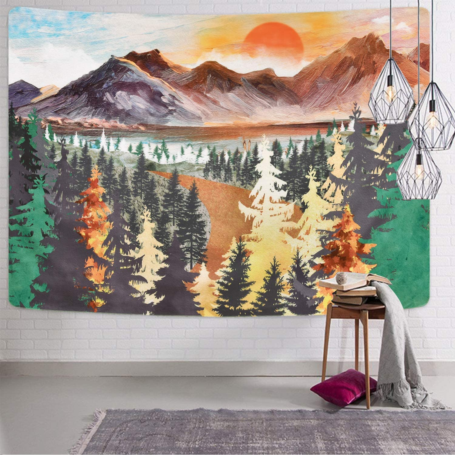 Mountain Tapestry Forest Tree Tapestries Sunset Tapestry Nature Landscape Tapestry Wall Hanging for Room, 82.7 × 59.1 Inches