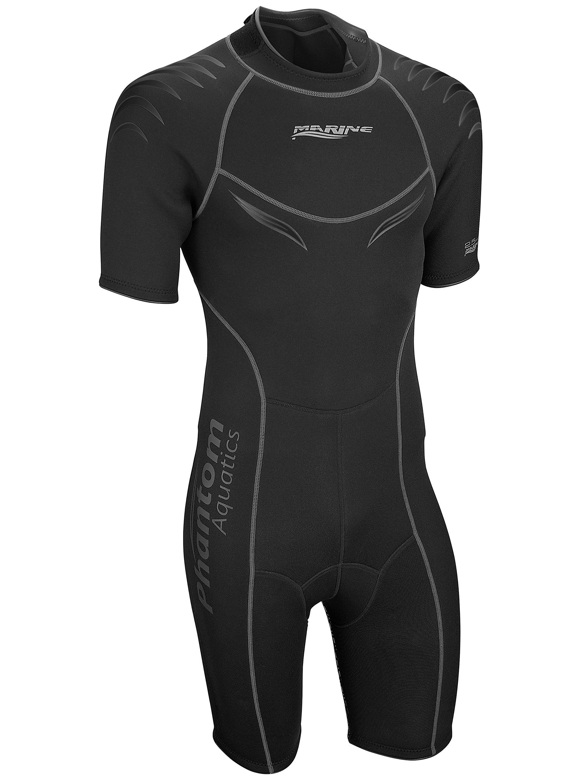 Phantom Aquatics Marine Men's Shorty Wetsuit, All Black - Medium