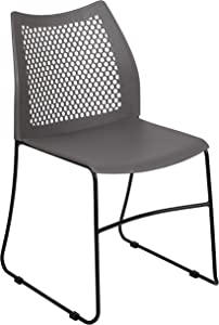 Flash Furniture HERCULES Series 661 lb. Capacity Gray Stack Chair with Air-Vent Back and Black Powder Coated Sled Base
