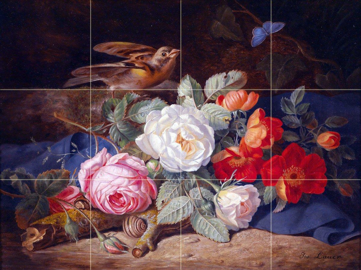 A bouquet of flowers with a bird by Josef Lauer Tile Mural Kitchen Bathroom Wall Backsplash Behind Stove Range Sink Splashback 4x3 8'' Ceramic, Matte