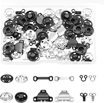 2 Colors WXJ13 50 Pairs 3 Styles Sewing Hooks and Eyes Set Hook and Eye Closures Kit for Trousers Skirt Dress Bra Sewing DIY