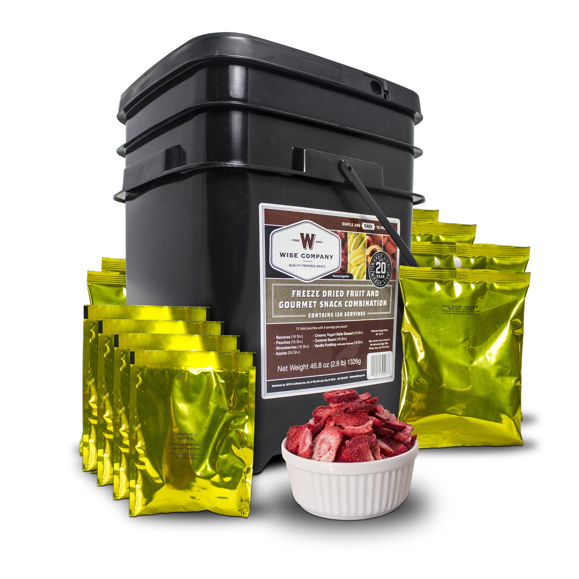 Wise Company, Emergency Food Supply, Freeze-Dried Fruit and Snack Bucket, 120 Servings by Wise Company