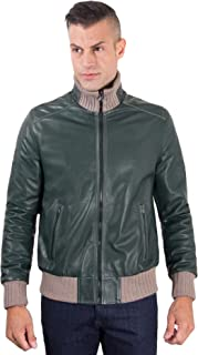 D'Arienzo - Bomber - Giacca in Pelle Verde Effetto Vintage Lana a Contrasto - 46, Verde