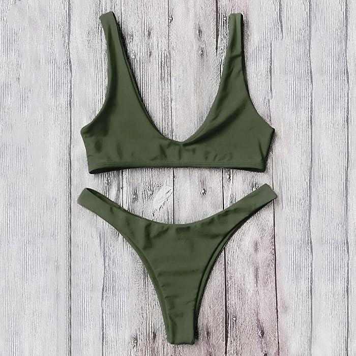 beba58b6ae Amazon.com  DressLily High Cut Scoop Neck Bikini Set