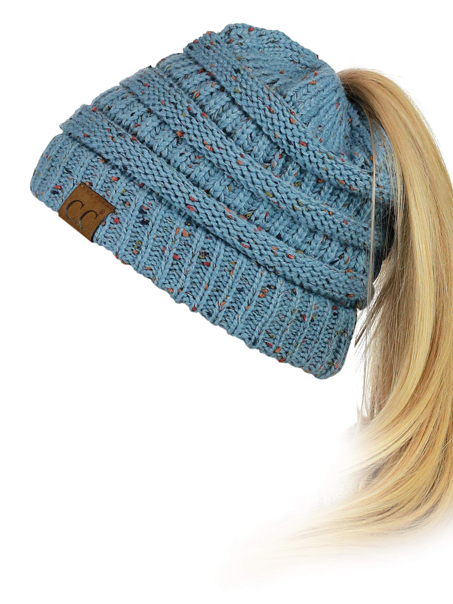 95deff0c58539 Galleon - C.C BeanieTail Soft Stretch Cable Knit Messy High Bun Ponytail Beanie  Hat