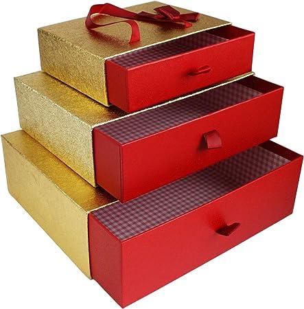 Emartbuy Conjunto de 3 Rígido Lujo Rectángulo Presentación de Caja de Regalo, Caja Metálica Oro/Roja Con Interior a Cuadros, Lazo de Satén y Llevar la Manija: Amazon.es: Oficina y papelería