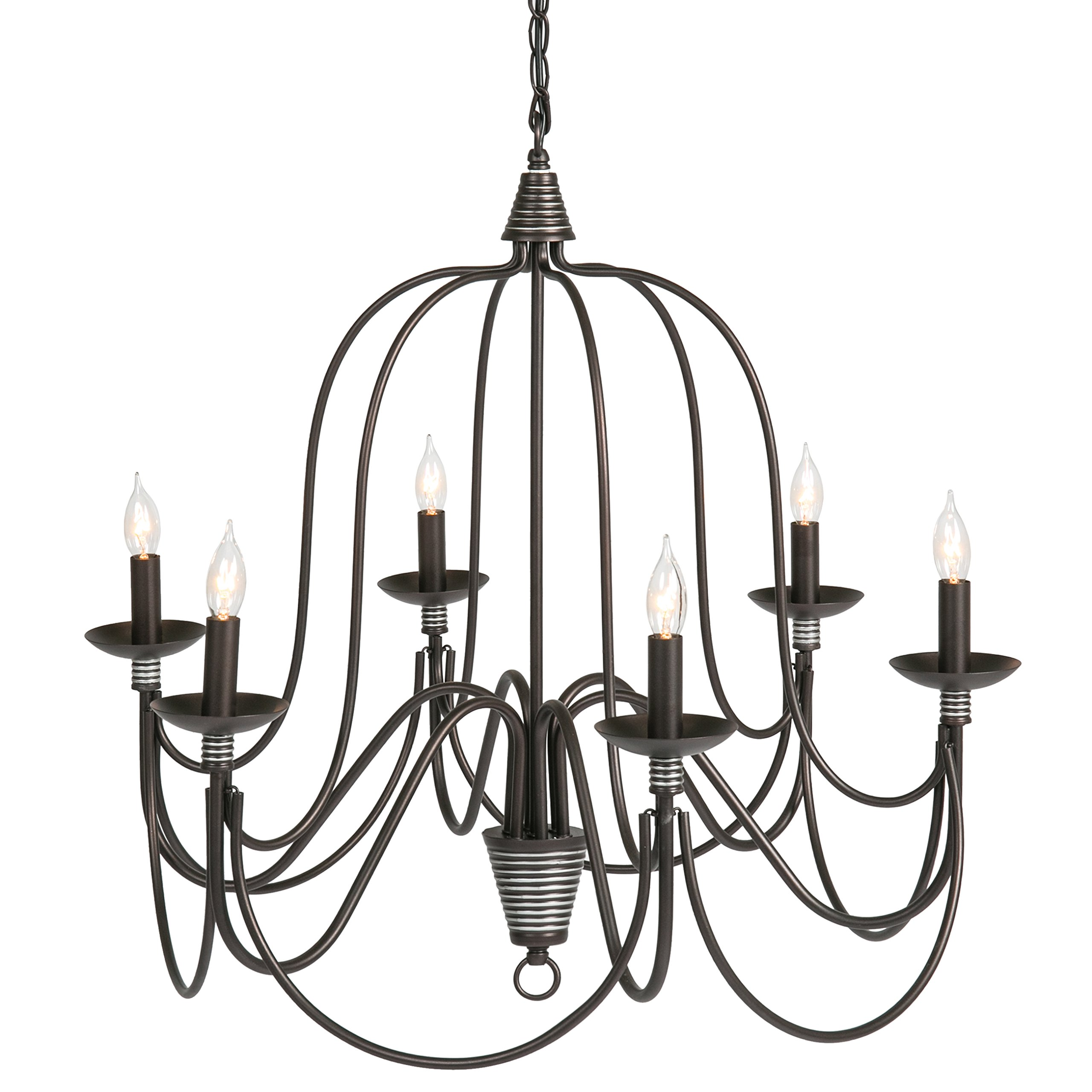 Best Choice Products 25in 6-Light Candle Chandelier Lighting Fixture for Living Room, Foyer w/ 41in Chain - Bronze