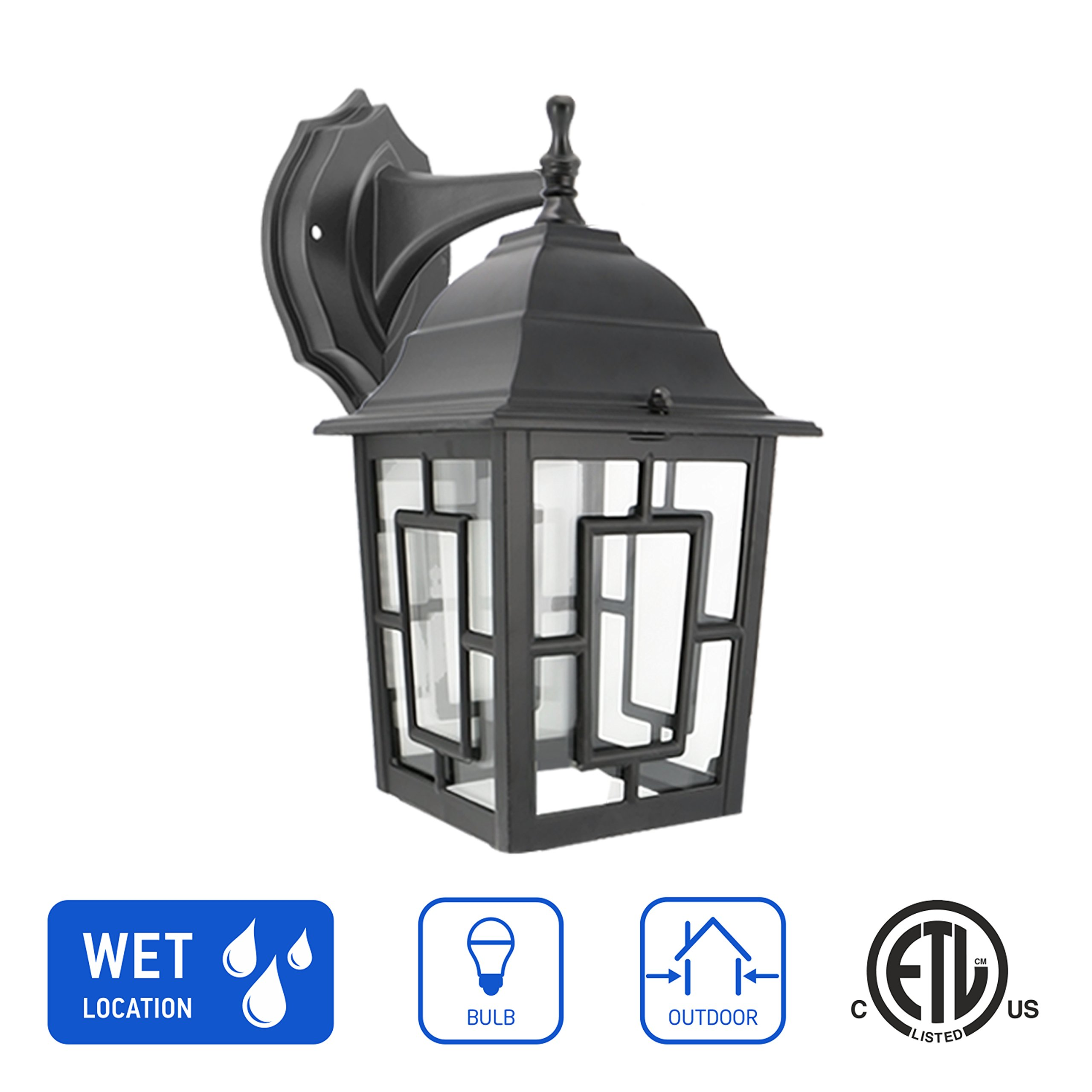 in Home 1-Light Outdoor Wall Mount Lantern Downward Fixture L05 Series Traditional Design Black Finish, Clear Glass Shade, ETL Listed