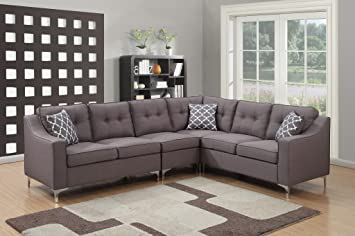 AC Pacific 4 Piece Kayla Collection Modern Linen Fabric Upholstered Tufted  L-Shaped Living Room Sectional, Grey