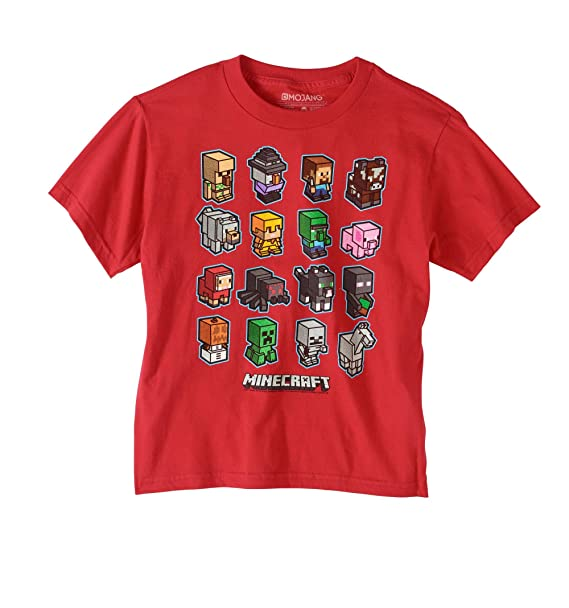 fc80c8bbb Amazon.com: Minecraft Boys' Short Sleeve Mini Mob Graphic T-Shirt ...