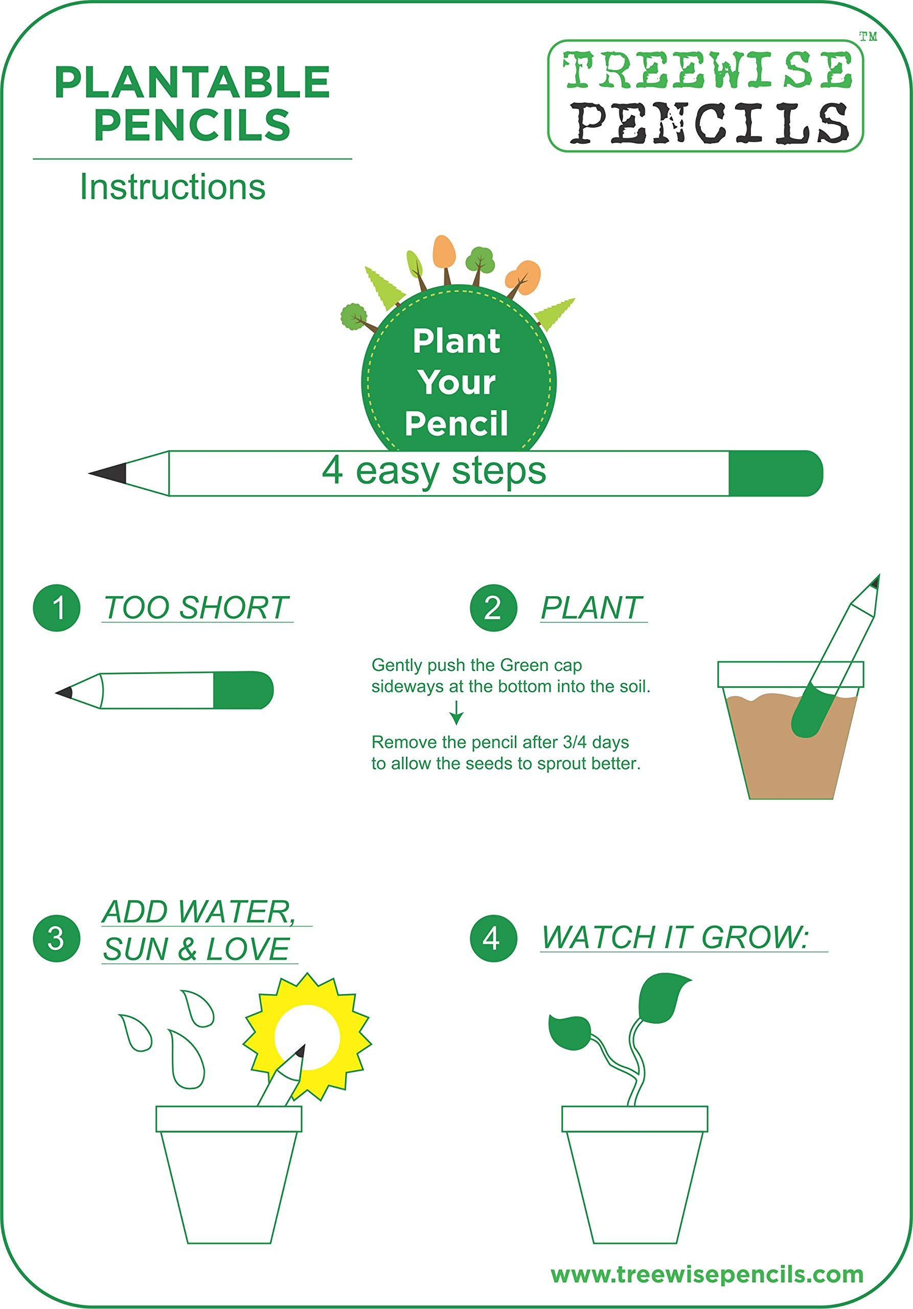 WOOD FREE PLANTABLE PENCIL HB#2 EXTRA DARK 36 Pencils + 5 Silicon Gripers FREE l 100% Recycled Newspapers l 100% Eco Friendly l 5 Assorted Seeds- TOMATO   FENUGREEK   CORIANDER   CHILI   MUSTRAD by SAVE GREEN WORLD (Image #6)