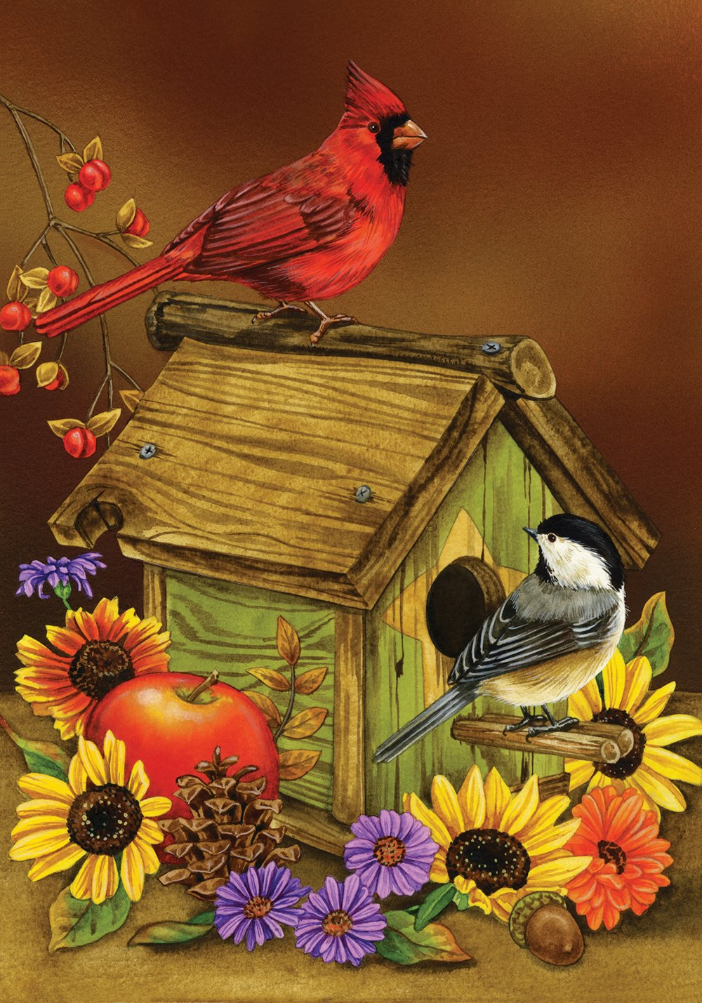 Toland Home Garden Autumn Melody 28 x 40 Inch Decorative Fall Cardinal Bird Sunflower House Flag