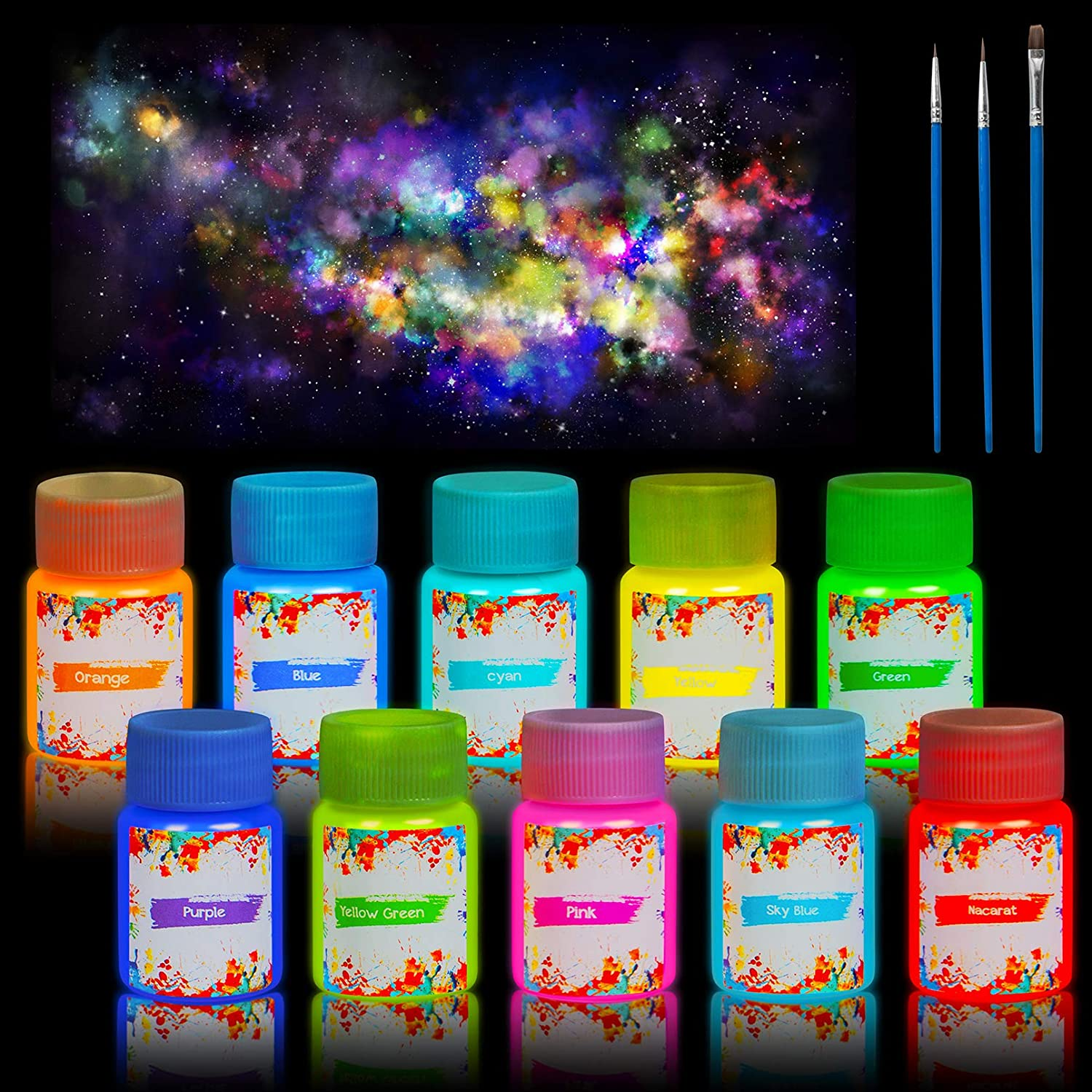 10 Color Glow in The Dark Paint, Self-Luminous Acrylic Paint Set, Long Lasting Phosphorescent Paints with 3 Extra Paint Brushes, Safe for Skin