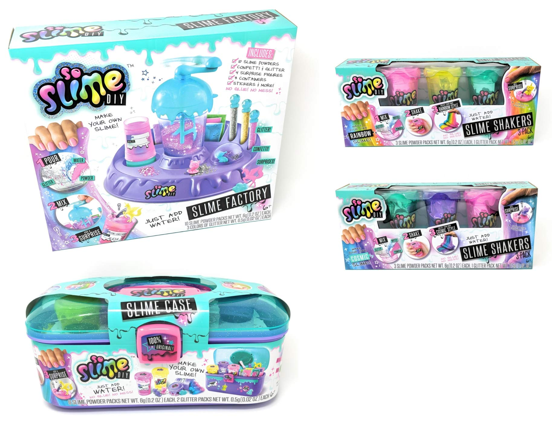 CANAL TOYS So Slime DIY Factory + DIY Caddy and Bonus 3 Pack Rainbow and Cosmic Slime Shakers Bundle by CANAL TOYS (Image #1)