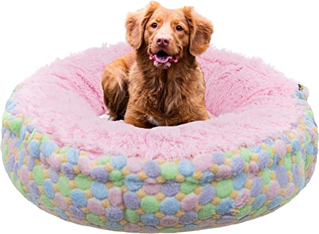 Amazon Com Bessie And Barnie Ice Cream Bubble Gum Luxury Shag Ultra Plush Faux Fur Bagelette Pet Dog Bed Multiple Sizes Pet Supplies