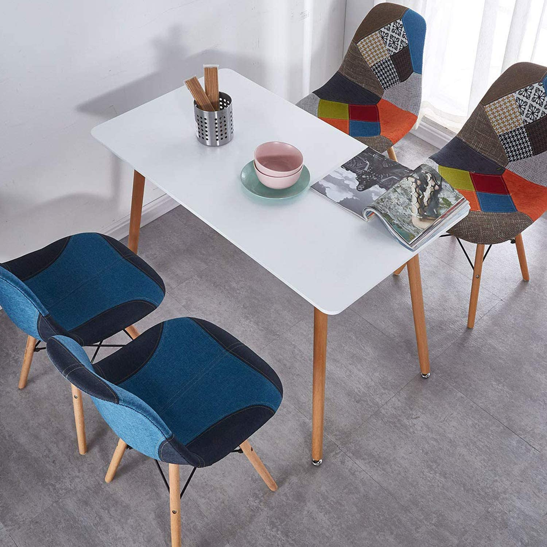 Mlfyho Dining White Square Table Modern Retro Design ...