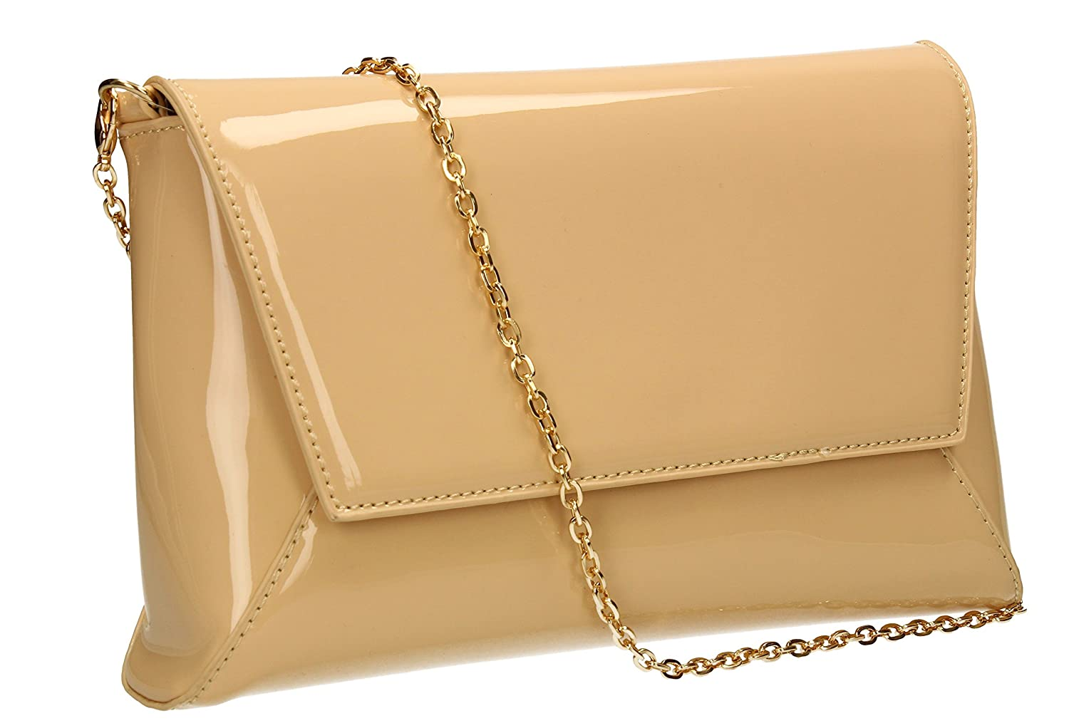 Elise Patent Leather Womens Party Prom Wedding Night Out Celebrity Ladies Clutch Bag - SWANKYSWANS