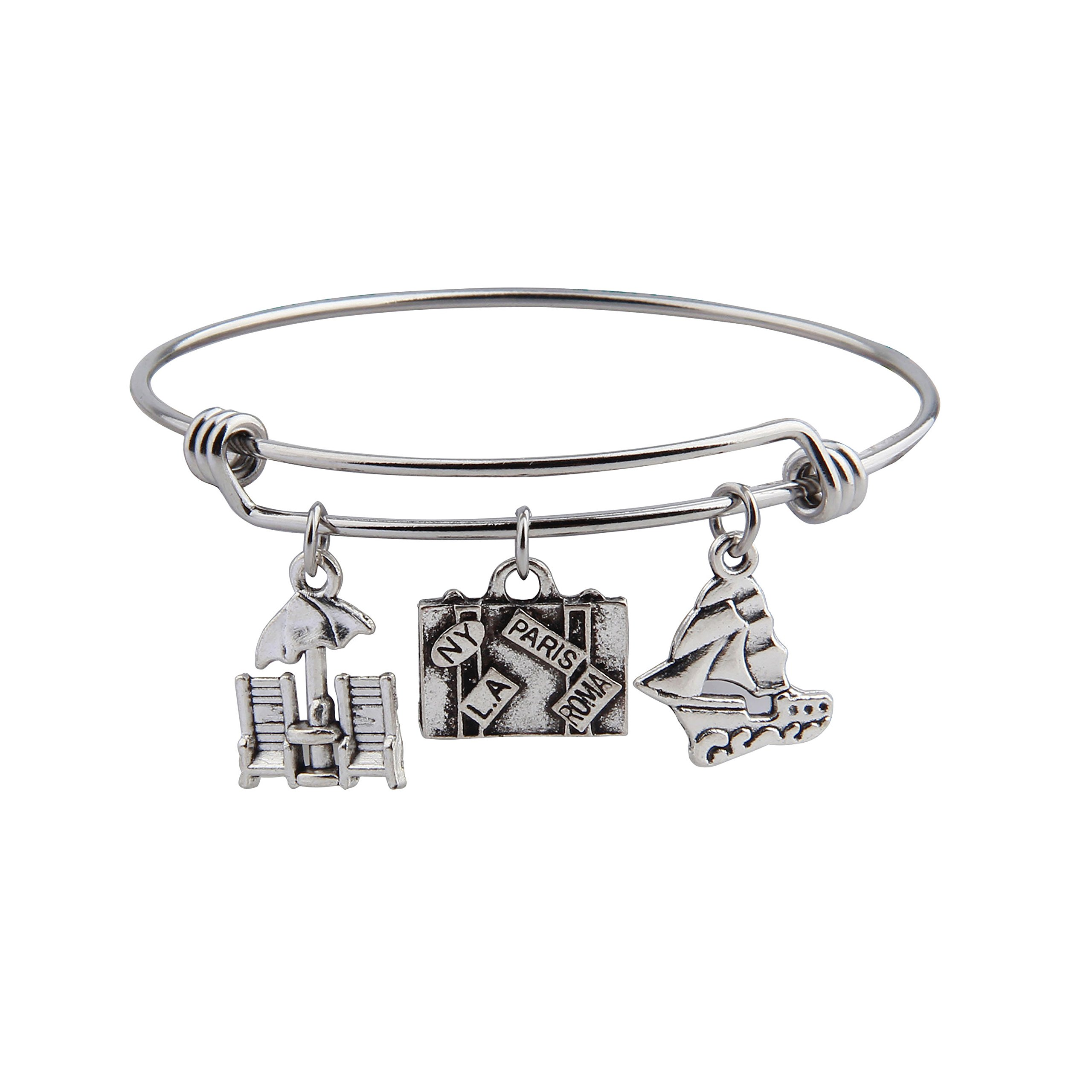 KUIYAI Retriment Travel Bracelets Sailboat Bangle Suitcase Charms Gift for Travelers (Traveler bracelet)