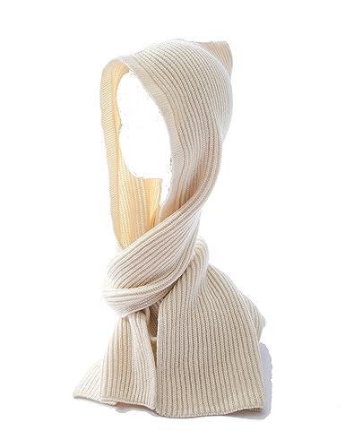 Mujer Color Sólido Encapuchado Bufanda De Punto(Blanco Marfil)