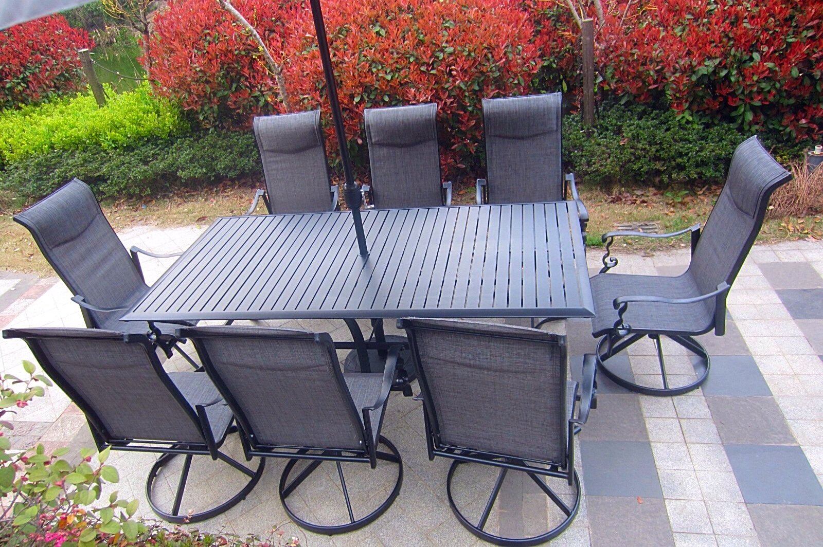 """Pebble Lane Living All Weather Rust Proof Indoor/Outdoor 9 Piece Cast Aluminum Patio Dining Set, 1 Slat Top Dining Table & 8 Swivel Rocking Dining Chairs with Padded Headrest, Black - 8 Cast Alumiunum Swivel Rocking Dining Chairs : 41"""" H x 30"""" D x 27"""" W 1 Aluminum Slat Top Dining Table : 82"""" x 42"""" x 29"""" Rectangle Grey Patio Umbrella IS NOT INCLUDED - patio-furniture, dining-sets-patio-funiture, patio - 81a9BoRBU L -"""