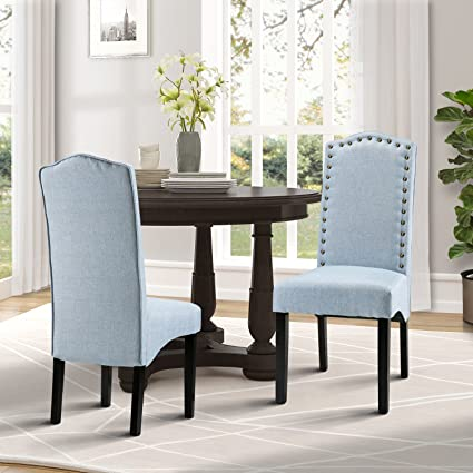Amazon.com - Merax Fabric Accent Chair Dining Room Chair with Solid ...