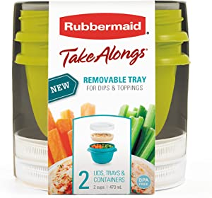Rubbermaid TakeAlongs Snacking Food Storage Containers, 2 Cups Size - 2 Lids, Trays, and Containers 7S87
