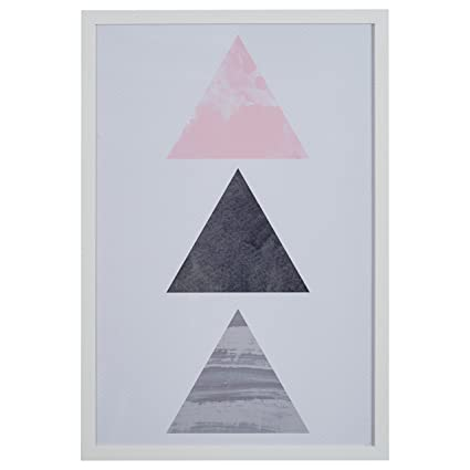Amazon.com - Rivet Patterned Pink and Grey Triangles in White Frame ...
