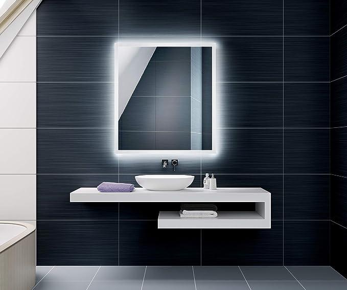 FORAM Espejo de Baño con Iluminación LED - Luz Espejo de Pared con Accesorios - Diferentes tamaños para Baño Dormitorio Maquillaje - L01: Amazon.es: Hogar