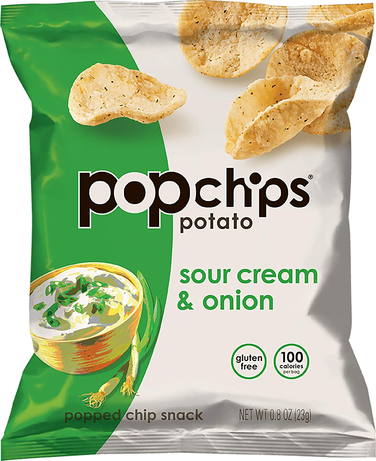 Popchips Potato Chips, Sour Cream and Onion, 0.8 Ounce (Pack of 24)