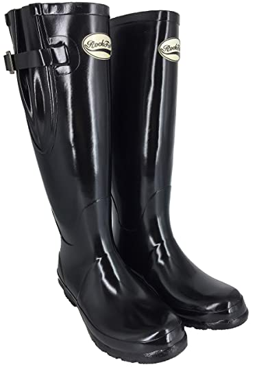 497640156 Rockfish Women's Wellies Standard and Wide Calf Adjustable Fit Black Gloss  Size 3