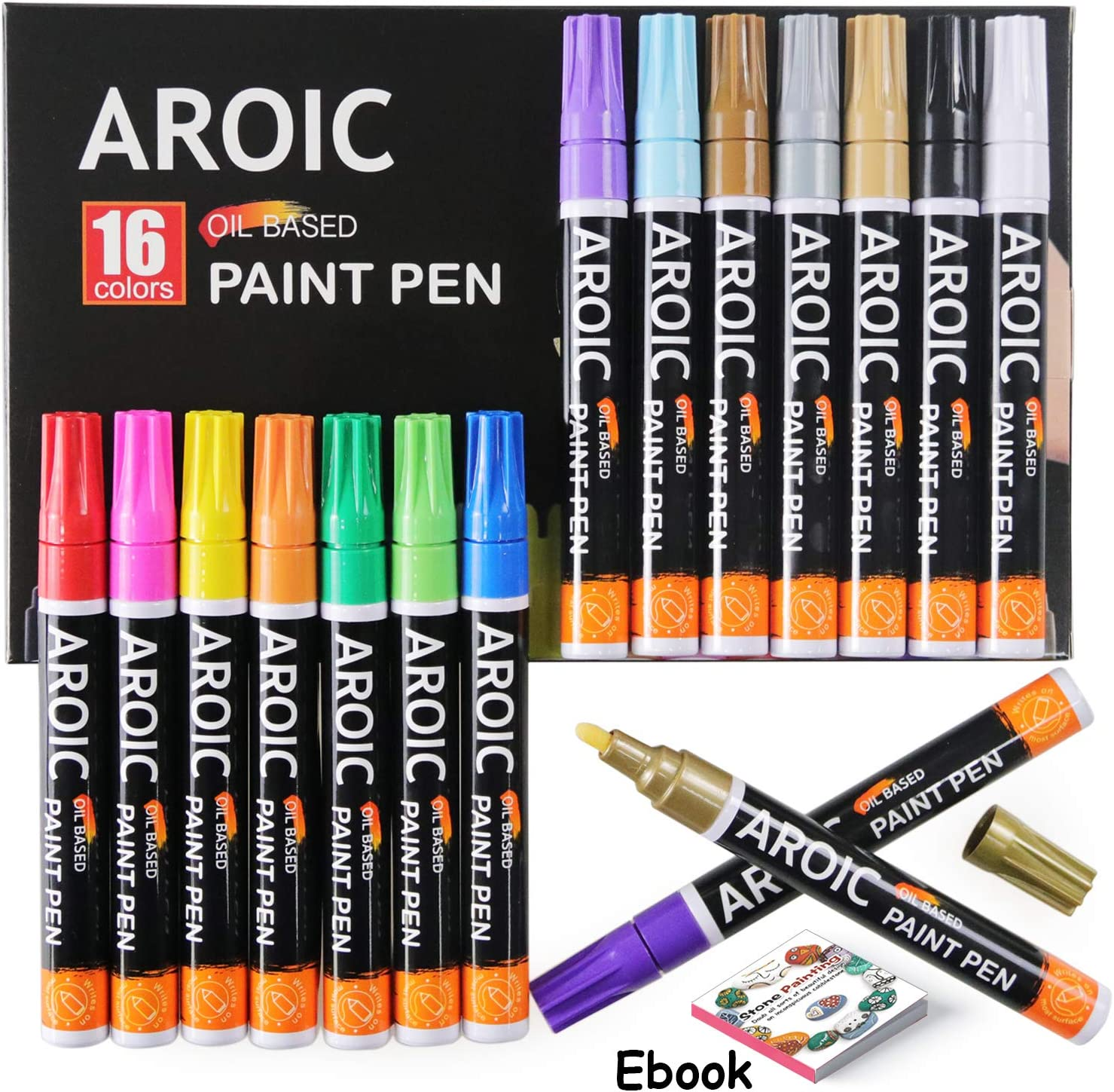 Paint Pens for Rock Painting - Write On Anything. Paint pens for Rock, Wood, Metal, Plastic, Glass, Canvas, Ceramic and More.(16 Pack)