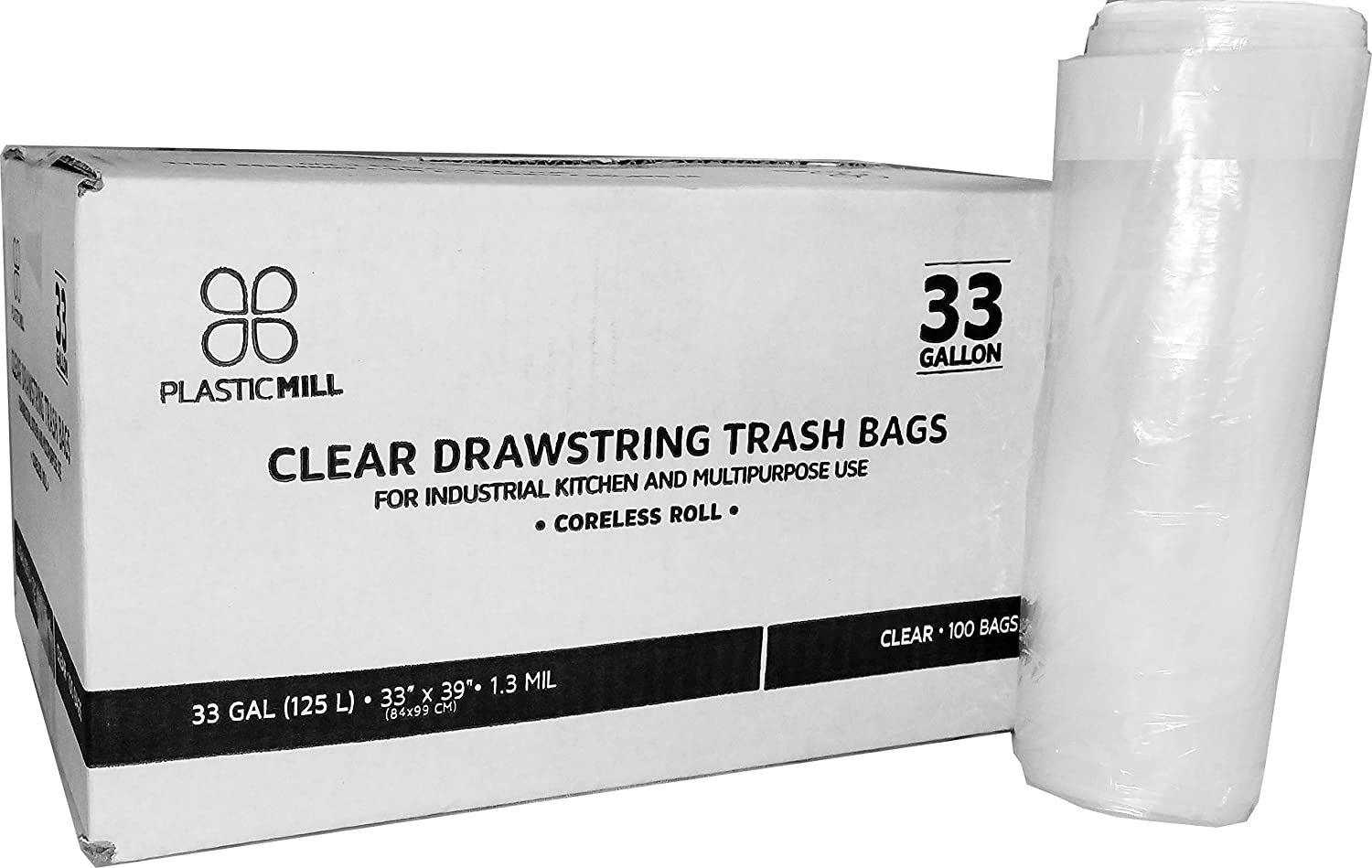 PM-3348-13-C-100 100 Bags//Case Clear 33x48 PlasticMill 42 Gallon Garbage Bags//Trash Can Liners 1.3 MIL