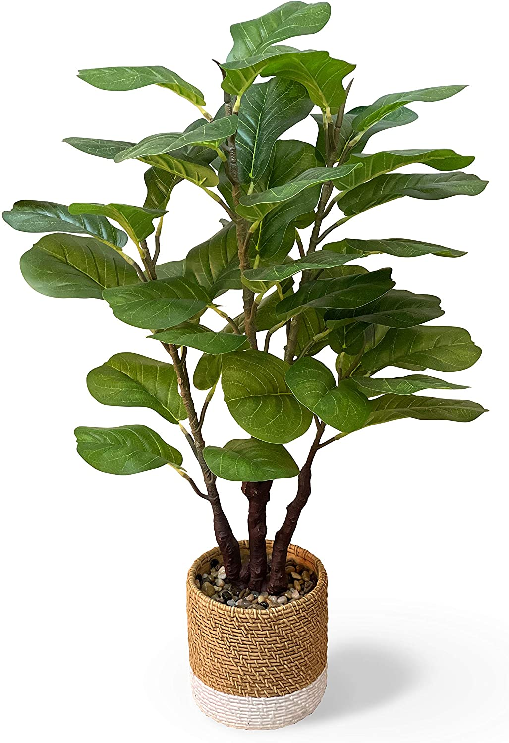 GreenBoxx Faux Fiddle Leaf Fig Tree Artificial – Green Fake Boho Ficus Plants with 45 Total Leaves and Ready to Display Cement Pot for Home Décor, Office Décor, Window, and Wedding Décor - 35