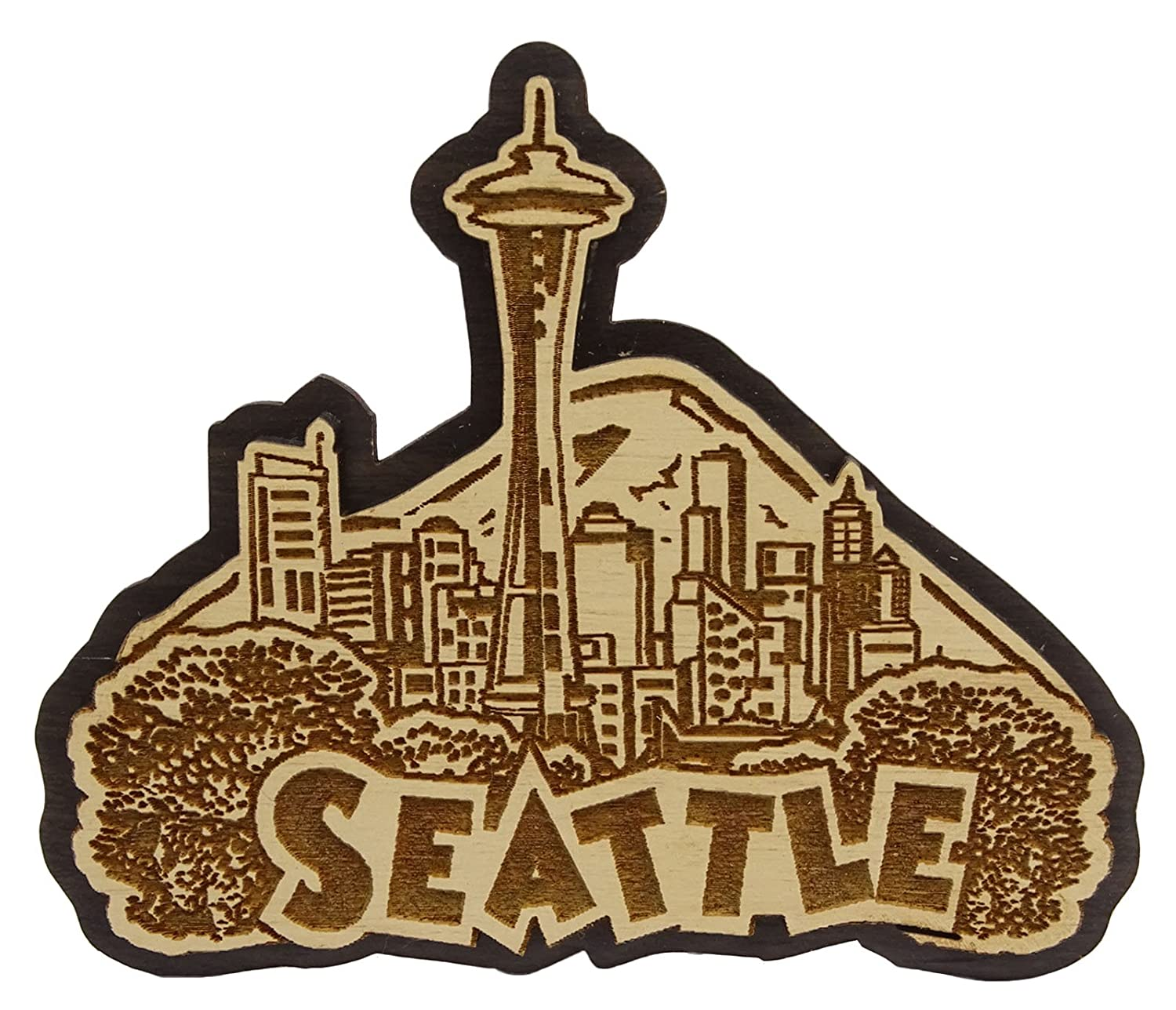 Seattle Wood Engraved Fridge Magnet Souvenir Gift
