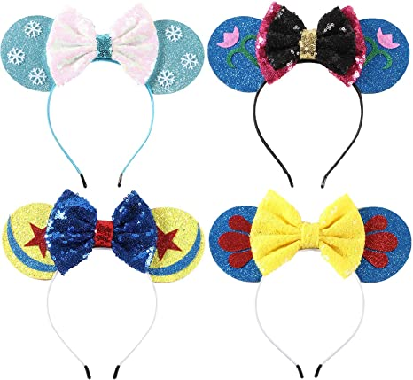 Disney Parks Multicolor Sequins Mickey Party Gift Minnie Mouse Ears Cos Headband