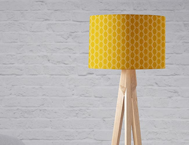 cb844b07a588 Amazon.com: Yellow Lampshade with White Squares 8 or 12 inch ...