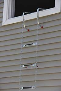 "Saf-Escape - 3 Story 25 foot Portable Fire Escape Ladder 10"" Thick Wall - Tangle Free Steel Chain - model # 1025"