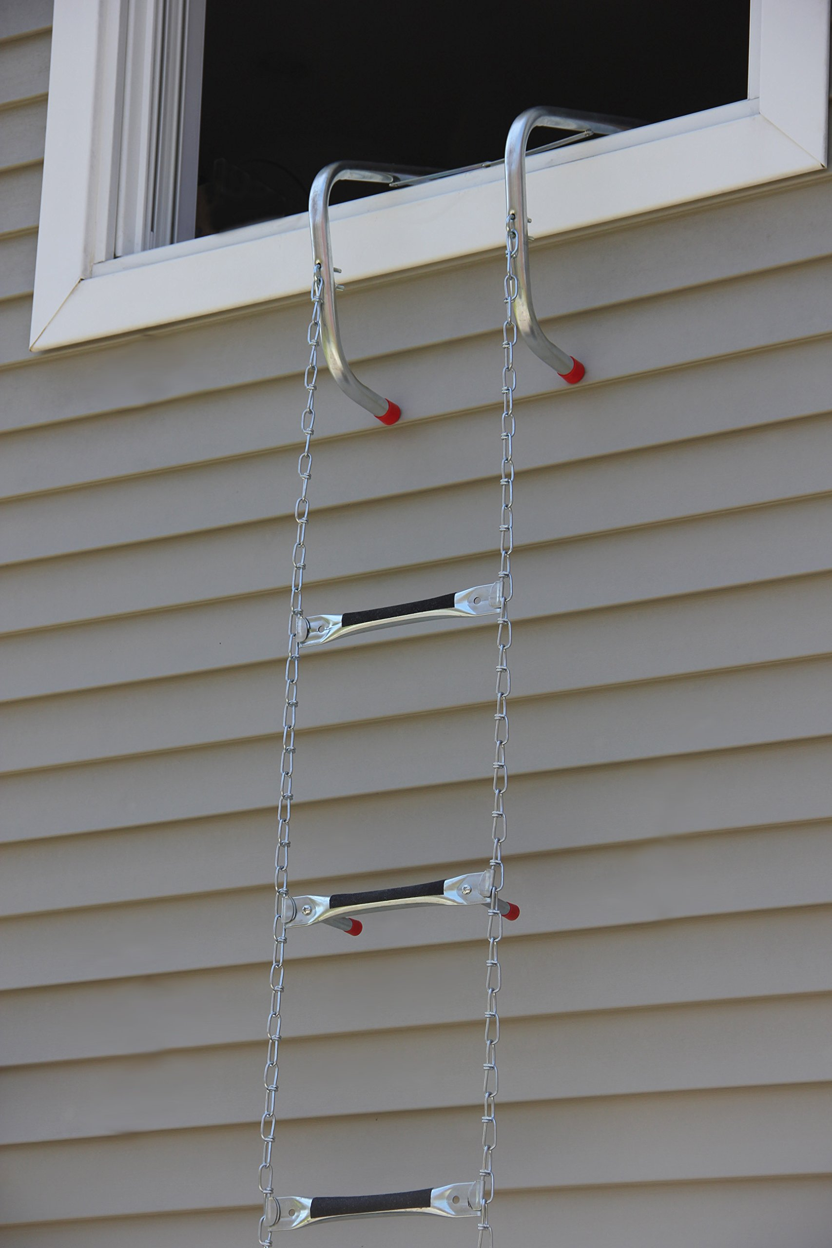 Saf-Escape - 3 Story 25 foot Portable Fire Escape Ladder 14'' Thick Wall - Tangle Free Steel Chain - model # 1625