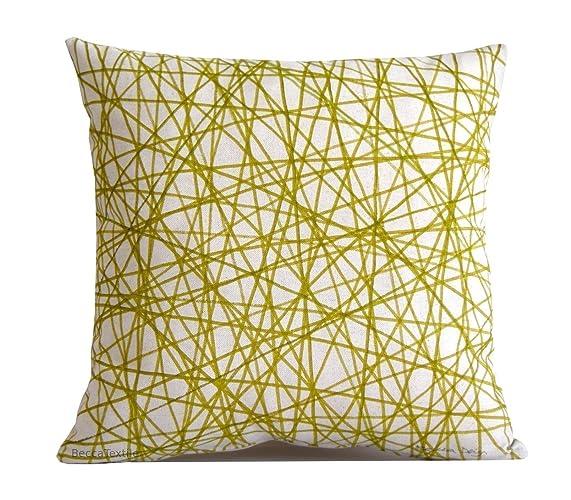 Cojín verde estampado geométrico de lino algodón 40,45 y 50 ...