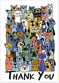 Greetingles Pack Of 10 Cats Dogs Funny Cartoon Design Thank You Cards Envelopes