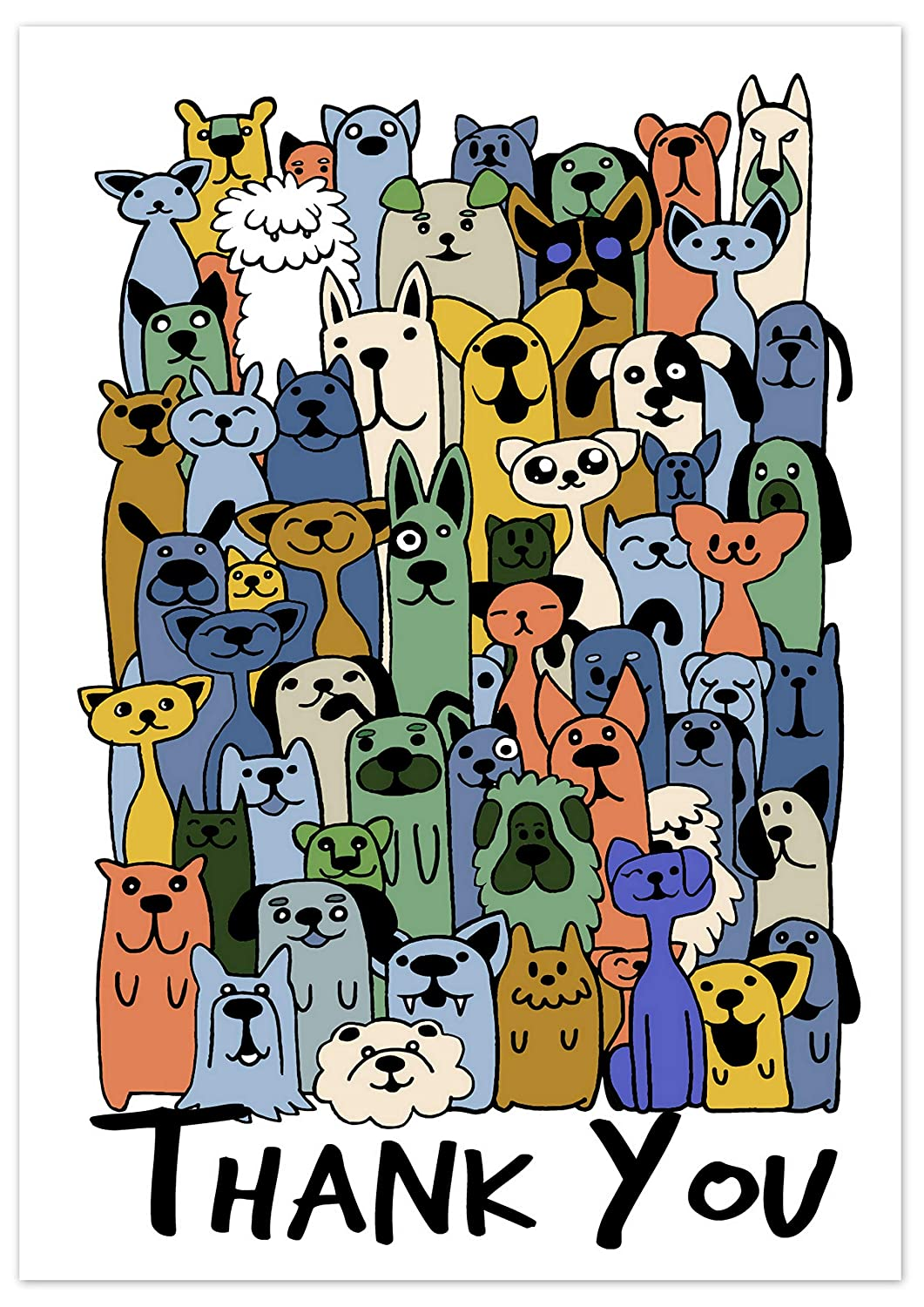 Greetingles Pack of 10 Cats & Dogs Funny Cartoon Design Thank-You ...