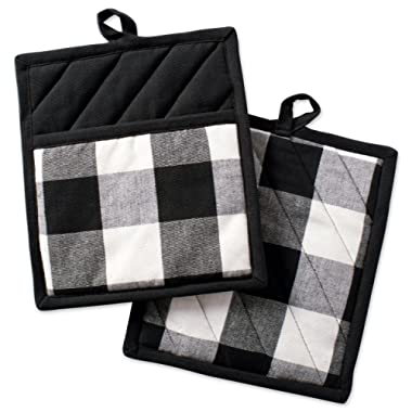 DII Buffalo Check Plaid Pot Holders with Pocket, , Black & White, (Set of 2), 9  x 8