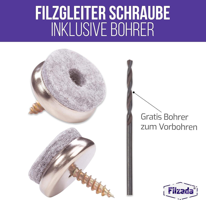 inkl Profi Stuhlgleiter//Stuhlbeinschoner Filz mit Schraube Filzada/® 50x Filzgleiter Schrauben Bohrer /Ø 22 mm